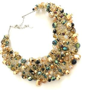 ALDO spring green beaded bib statement necklace